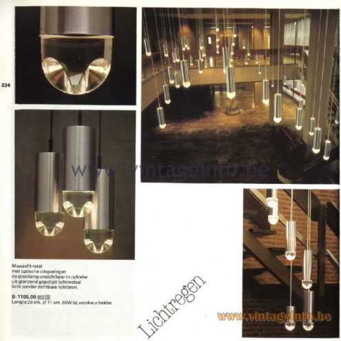 Raak Catalogue 11, 1978 - Raak Pendant Lamps Lichtregen (light rain)
