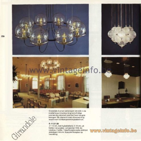 Raak Catalogue 11, 1978 - Girandole Chandelier B-1137.00