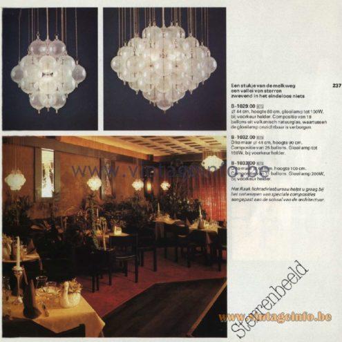 Raak Catalogue 11, 1978 - Raak Sterrenbeeld Chandelier B-1029.00, B-1032.00