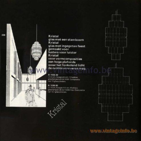 Raak Catalogue 11, 1978 - Raak Kristal Chandelier B-1035.00, B-1036.00