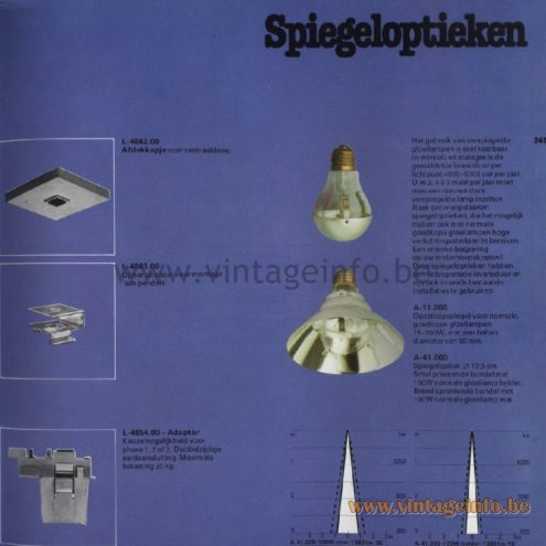 Raak Catalogue 11, 1978 - Raak Spiegeloptieken L-4862.00, L-4863.00, L-4854.00 - Silver cup light bulbs