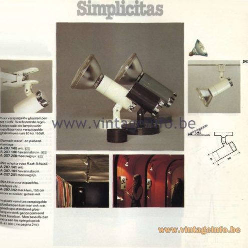 Raak Catalogue 11, 1978 – Raak Simplicitas Spot Lights A-207.140, A-207. 160, A-207.200, A-207.141, A-207.161, A207.201, A-207.142