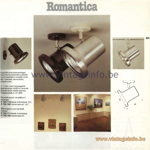 Raak Catalogue 11, 1978 - Raak Romantica Spot Light A-150.110, A-150.160, A-150.111, A-150.161