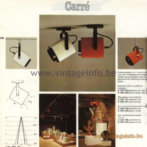 Raak Catalogue 11, 1978 - Raak Carré Spot Light (square) A-202.140, A-202.230, A-202.141, A-202.231, A-202.148, A-202.238, A-202.149, A-202.239