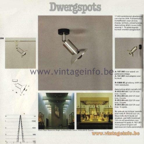 Raak Catalogue 11, 1978 - Raak Dwergspots Spot Lights (dwarf spot) A-167.000, A-167.001