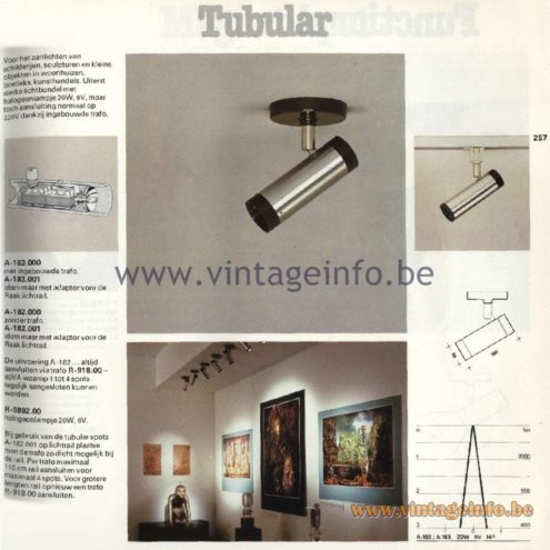 Raak Catalogue 11, 1978 - Raak Tubular Spot Lights A-183.000, A-183.001, A-182.000, A-182.001