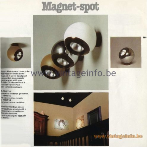 Raak Catalogue 11, 1978 - Raak Magnet-spot Spot Lights C-1502.14, C-1502.15, C-1502.16