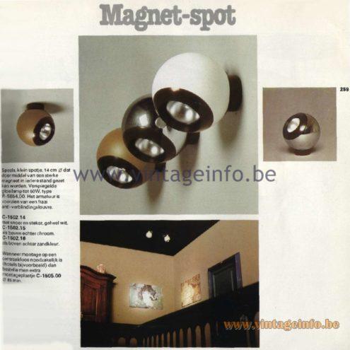 Raak Catalogue 11, 1978 - Raak Magnet-spot Spot Lights C-1502.14, C-1502.15, C-1502.16