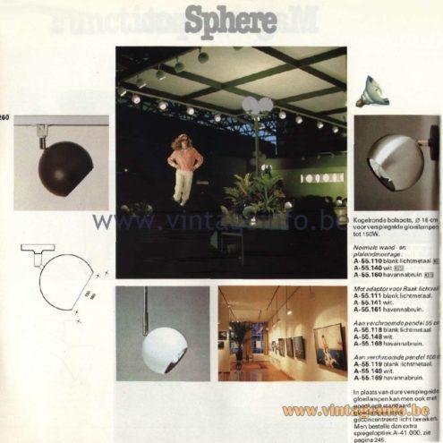 Raak Catalogue 11, 1978 - Raak Sphere Spot Lights A-55.110, A-55.140, A-55.160, A-55-111, A-55.141, A-55.161, A-55.118, A-55.148, A-55.168, A-55.119, A-55.149, A-55.169