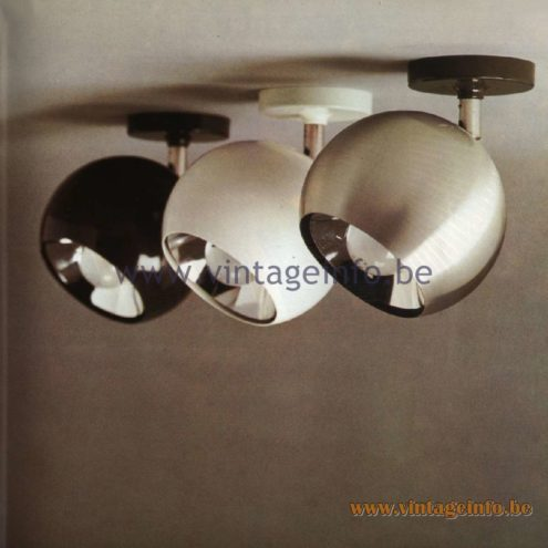 Raak Catalogue 11, 1978 - Raak Sphere Spot Lights A-55.110, A-55.140, A-55.160, A-55-111, A-55.141, A-55.161, A-55.118, A-55.148, A-55.168, A-55.119, A-55.149, A-55.169
