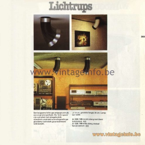 Raak Catalogue 11, 1978 - Raak Lichtrups Spot Lights (light caterpillar) A-126.130, A-126.140