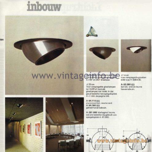 Raak Catalogue 11, 1978 - Raak Inbouw Spot Lights (recessed) A-54.110, A-54.160, A-52.000, A-281.000