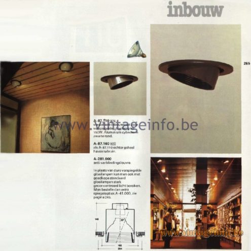Raak Catalogue 11, 1978 - Raak Inbouw Spot Lights (recessed) A-87.110, A-87.160, A-281.000