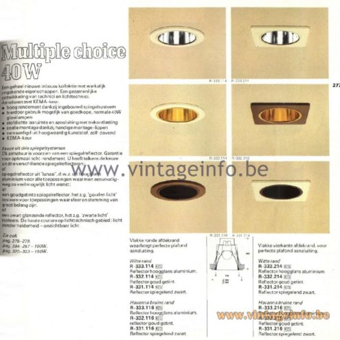 Raak Catalogue 11, 1978 – Raak Inbouw Spot Lights (recessed) R-333.114, R-332.114, R-331.114, R-333.116, R-332.116, R-331.116, R-333.114, R-332.114, R-331.114, R-333.216, R-332.216, R-331.216