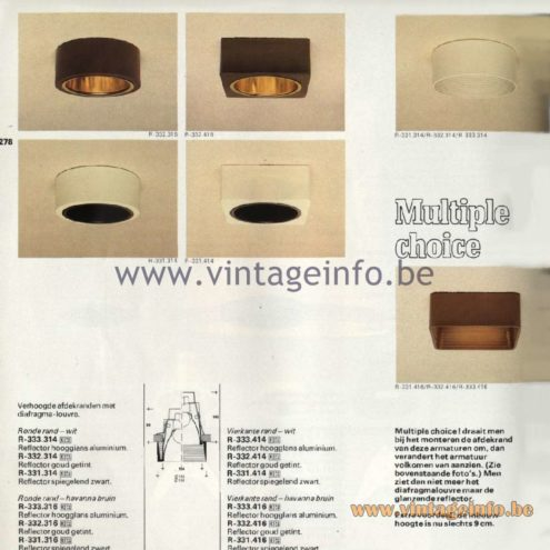 Raak Catalogue 11, 1978 – Raak Multiple Choice Spot Lights R-333.314, R-332.314, R-331.314, R-333.316, R-323.316, R-331.316, R-333.414, R-332.414, R-331.414, R-333.416, R-332.416, R-331.416