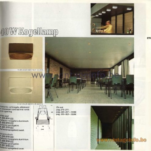 Raak Catalogue 11, 1978 – Raak 40 W Kogellamp (ball lamp) R-333.514, R-332.514, R-331.514, R-333.516, R-332.516, R-331.516