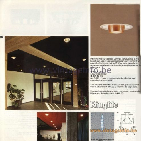 Raak Catalogue 11, 1978 - Recessed Spotlights Ringlite R-271.12, R-271.42