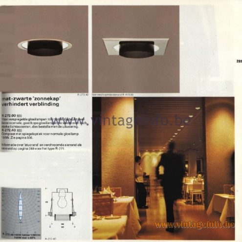 Raak Catalogue 11, 1978 - Recessed Spotlights R-272.00, R-272.40
