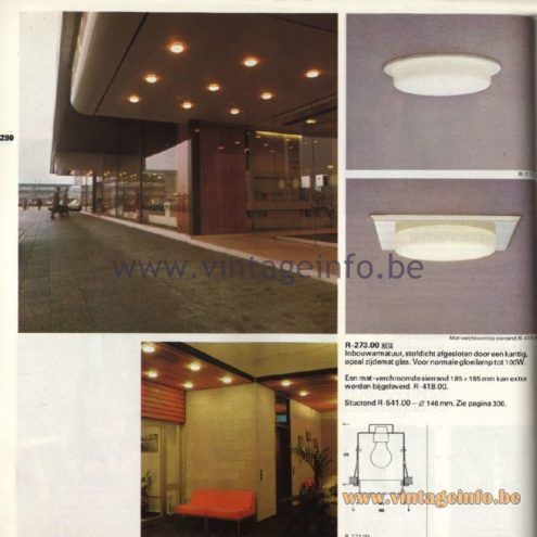 Raak Catalogue 11, 1978 - Recessed Spotlights R-273.00