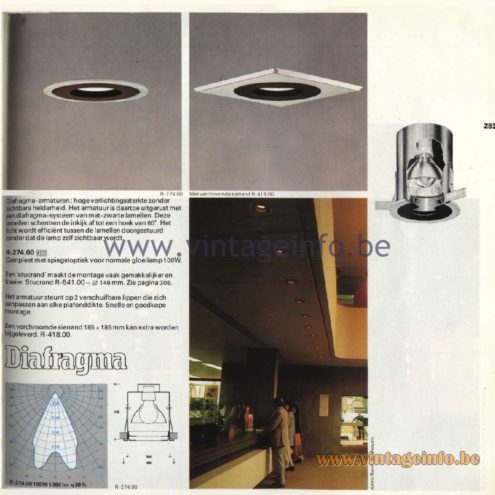 Raak Catalogue 11, 1978 - Recessed Spotlights Diafragma R-274.00