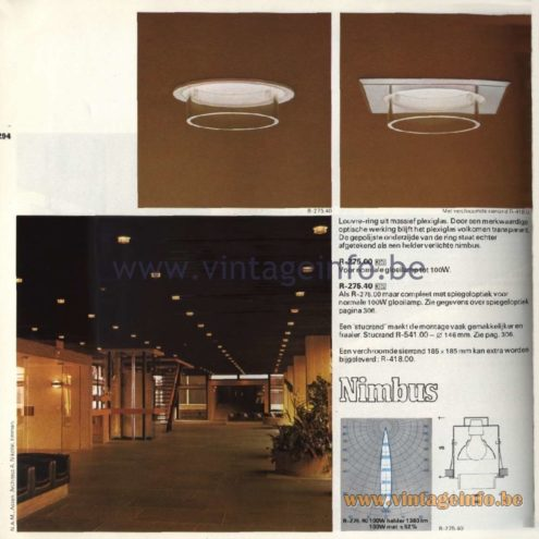 Raak Catalogue 11, 1978 – Raak Recessed Spotlights Nimbus R-275.00, R-275.40