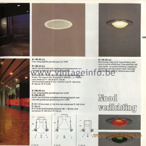 Raak Catalogue 11, 1978 - Raak Recessed Spotlights R-185.00, R-185.40, R-280.00, R-280.40, R-184.00 Nood Verlichting (emergency lighting)