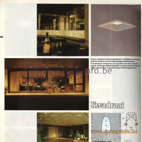 Raak Catalogue 11, 1978 - Raak Recessed Spotlights Kwadraat (four-square) R.241
