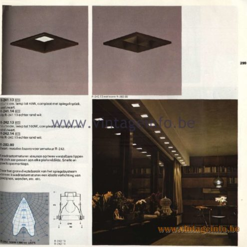 Raak Catalogue 11, 1978 - Raak Recessed Spotlights Kwadraat (four-square) R.241.13, R-241.14, R-242.13, R-242.14, R-283.00