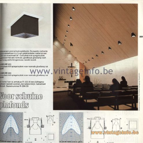 "Raak Catalogue 11, 1978 – Raak Recessed Spotlights ""Voor schuine plafonds"" (for sloping ceilings) R-223.00, R-224.00"