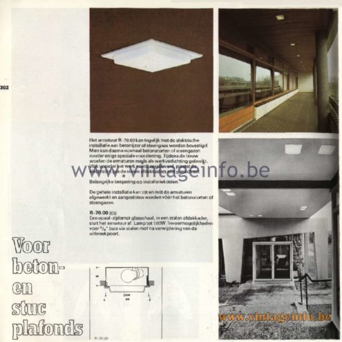 "Raak Catalogue 11, 1978 – Raak Recessed Spotlights ""Voor beton- en stuc plafonds"" (For concrete and stucco ceilings) R-70.00"