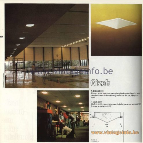 Raak Catalogue 11, 1978 - Raak Gizeh Recessed Ceiling Lamp R-235.00, F-3035.000