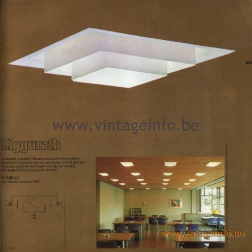 Raak Catalogue 11, 1978 – Raak Recessed Ceiling Lamp Ziggurath R-9.00