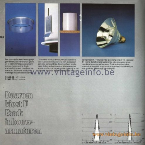 Raak Catalogue 11, 1978 – Daarom kiest U Raak inbouwarmaturen That is why you choose Raak recessed fixtures R-540.00, R-541.00