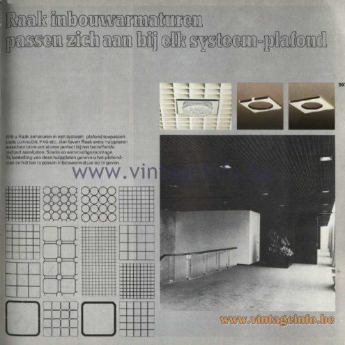 Raak Catalogue 11, 1978 – Raak inbouwarmaturen passen zich aan bij elk systeem-plafond - recessed luminaires adapt to every ceiling system