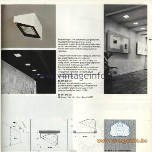 Raak Catalogue 11, 1978 – Recessed Ceiling Lamps R-341.00, R-141.00