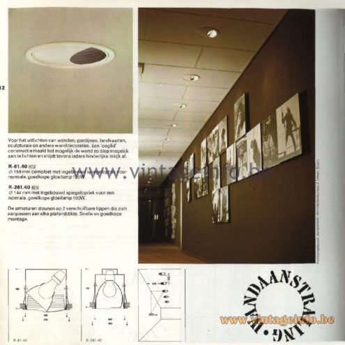 Raak Catalogue 11, 1978 - Recessed picture & display lighting P-330.13, P-330.14