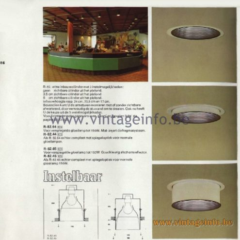 Raak Catalogue 11, 1978 - Instelbaar - adjustable recessed spotlight R-82.64, R-82.44, R-82.65, R-82.45