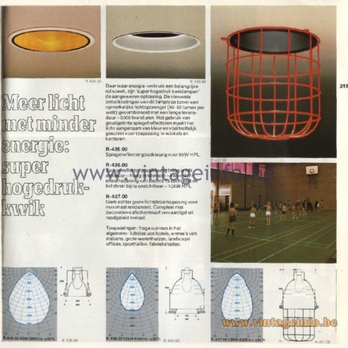 Raak Catalogue 11, 1978 - Meer licht met minder energie: super hogedruk kwik - More light with less energy: super high-pressure mercury R-435.00, R-436.00, R-437.00