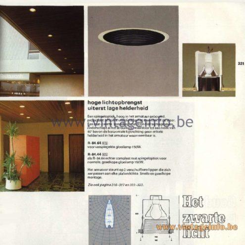 Raak Catalogue 11, 1978 - Raak Recessed Ceiling Lamps - Het zwarte licht - The black light R-84.64, R-84.44