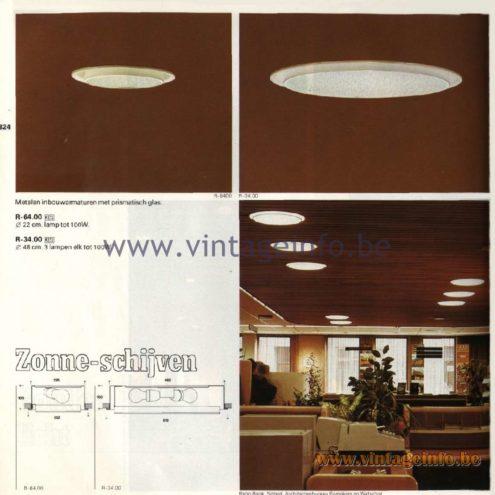 Raak Catalogue 11, 1978 - Raak Recessed Ceiling Lamps Zonne-schijven - Solar disks R-64.00, R-34.00