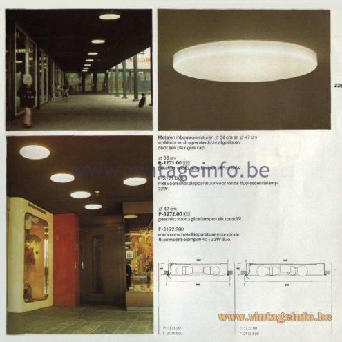 Raak Catalogue 11, 1978 - Raak Recessed Luminaires P-1271.00, P-1272.00, F-3171.000, F-3172.900