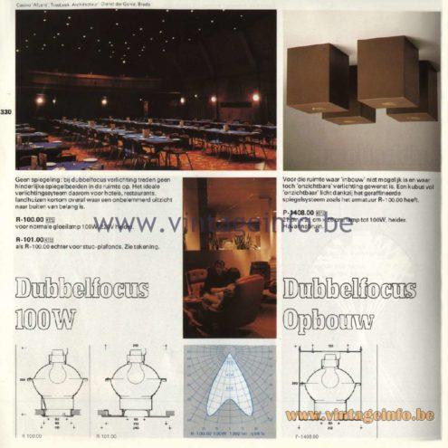 Raak Catalogue 11, 1978 - Raak Dubbelfocus 100 W - Dubbelfocus Opbouw R-100.00, R-101.00, P-1408.00
