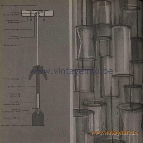 Raak Opaque Glass Pendant Lamp - Raak Catalogue 5 - 1962 - Lamp mechanism