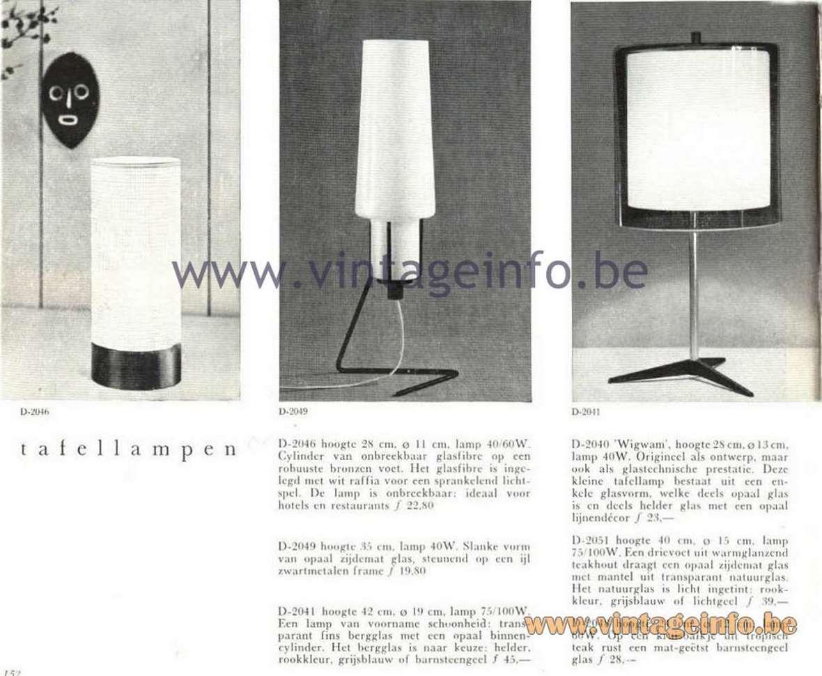 Raak Opaque Glass Pendant Lamp - Raak Catalogue 5 - 1962 - Raak D-2049 Table Lamp