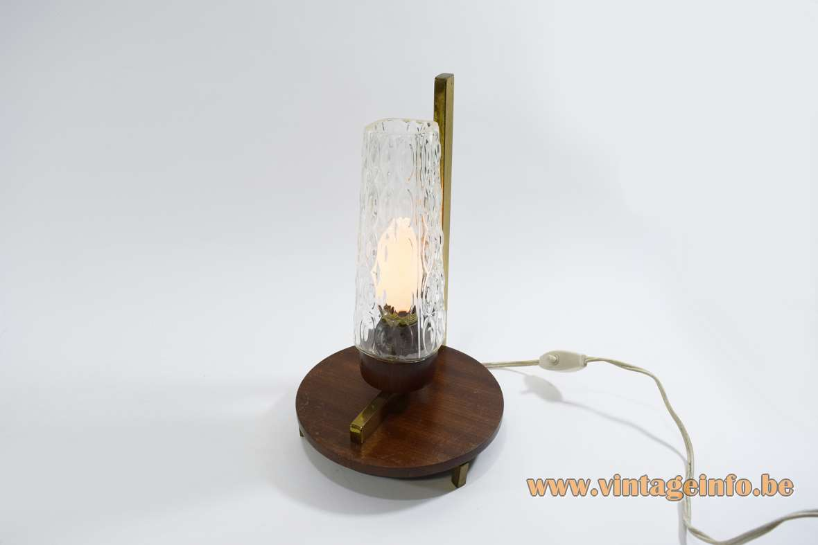 1950s Brass And Wood Bedside Lamp