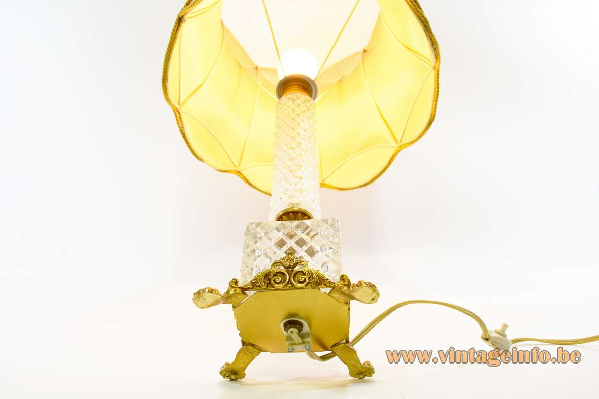 1960s Crystal & Brass Table Lamp