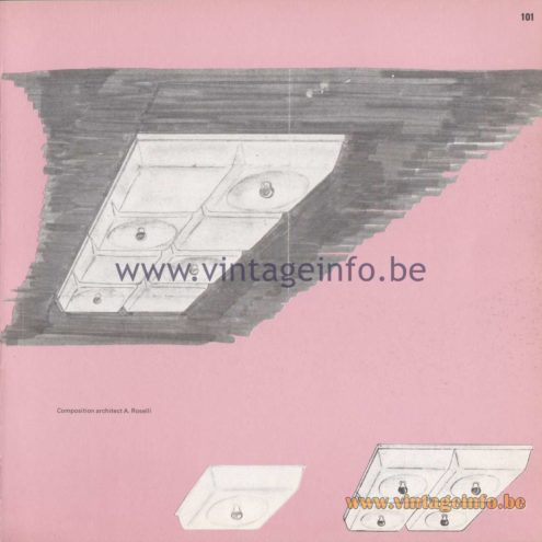 Raak Amsterdam Light Catalogue 8 - 1968 - Raak Flush Mount B-1058, B-1059 Design A. Roselli