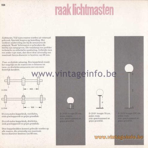 Raak Amsterdam Light Catalogue 8 - 1968 - Raak Outdoor Lighting D-2100, D-1201, D-1202 - Lichtmasten - Light poles