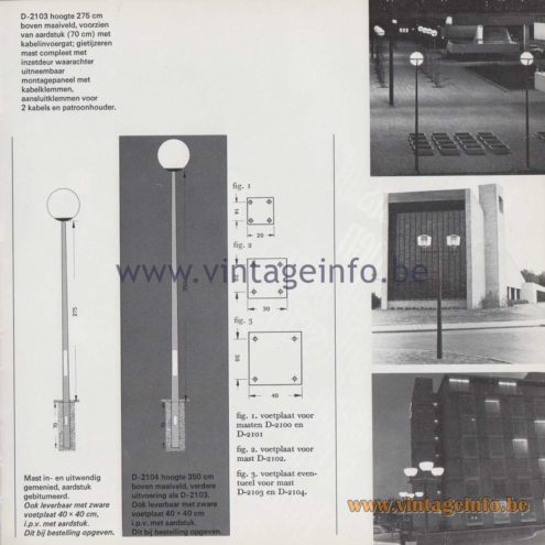 Raak Amsterdam Light Catalogue 8 - 1968 - Raak Outdoor Lighting D-2103 - Lichtmasten - Light poles