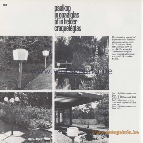 Raak Amsterdam Light Catalogue 8 - 1968 - Raak Outdoor Lighting D-2033, D-2034 - Paalkop - Pile head
